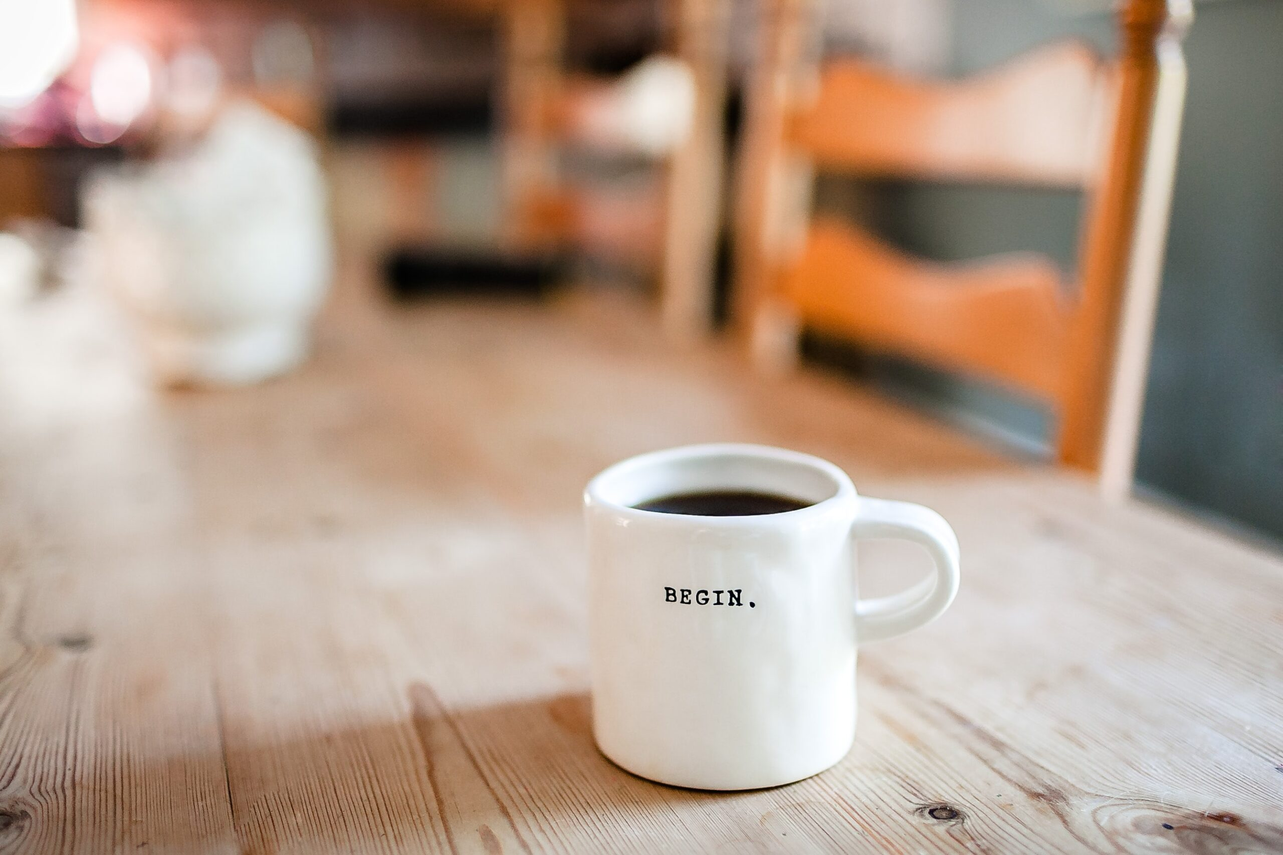 Cup with the word begin
